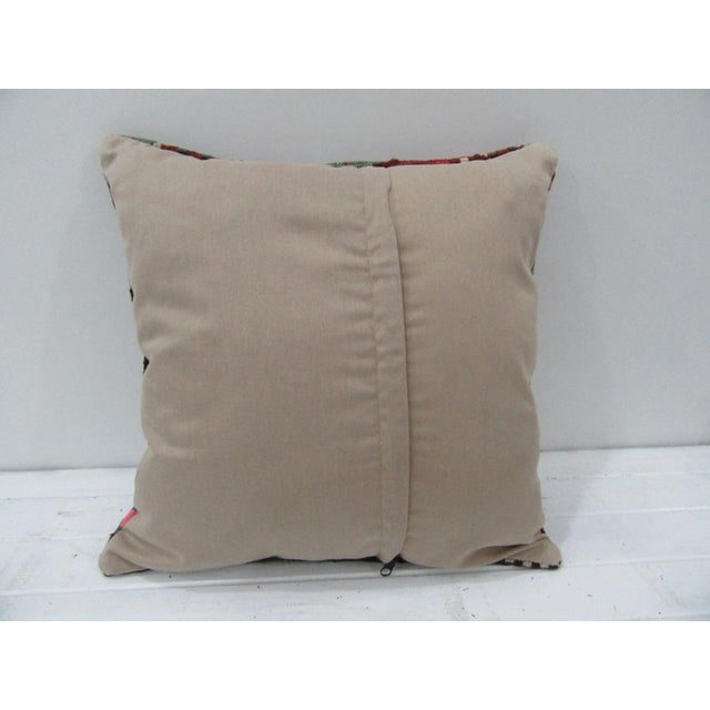Contemporary Vintage Handwoven Embroidered Turkish Kilim Pillow Cover For Sale - Image 3 of 4