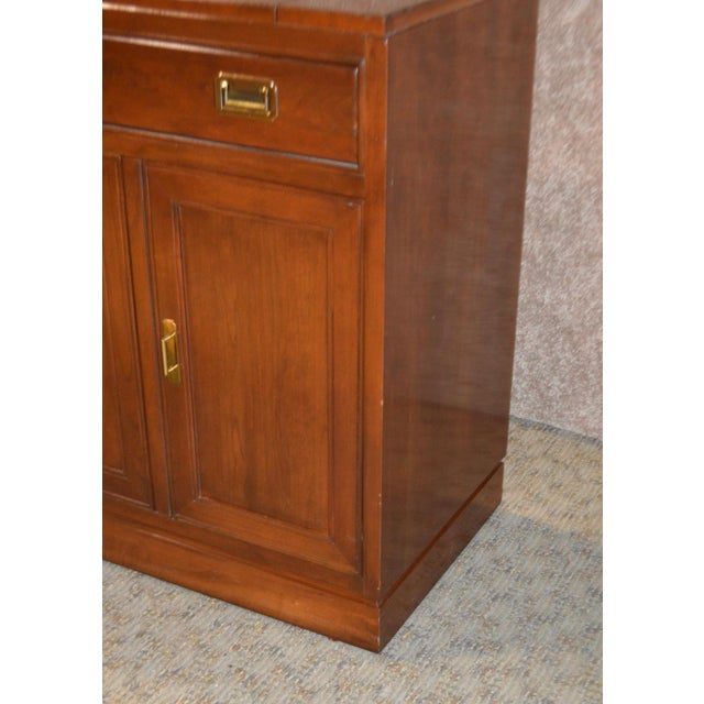 Wood Vintage Ethan Allen Campaign Style Flip Top Server For Sale - Image 7 of 13