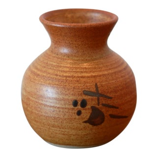 Striated Rust Colored Studio Pottery Ceramic Vessel For Sale