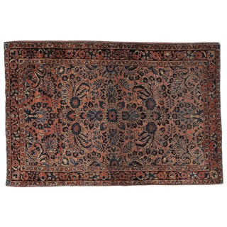 "Antique Persian Sarouk Rug - 3'4"" X 5'1"""