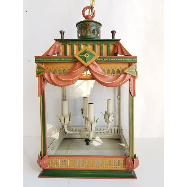 Large Highly Decorative Painted Tole Lantern For Sale - Image 13 of 13
