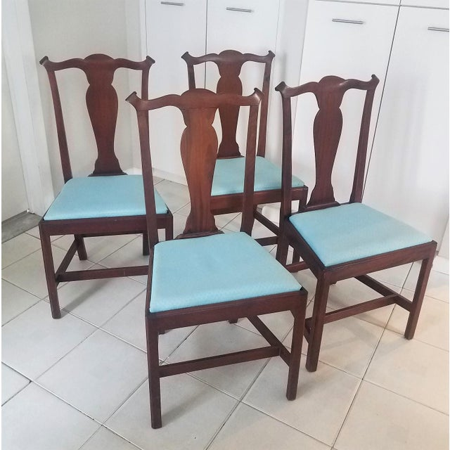 Mid-Century Chippendale Style Mahogany Dining Chairs - Set of 4 For Sale In New York - Image 6 of 6