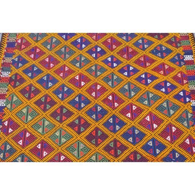 Textile Handwoven Turkish Kilim Rug. Traditional Oushak Area Rug Braided Kilim - 5′6″ X 8′6″ For Sale - Image 7 of 10