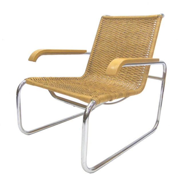 Marcel Breuer B 35 Lounge Chair for Thonet in Chrome and Woven Rattan - Image 2 of 6