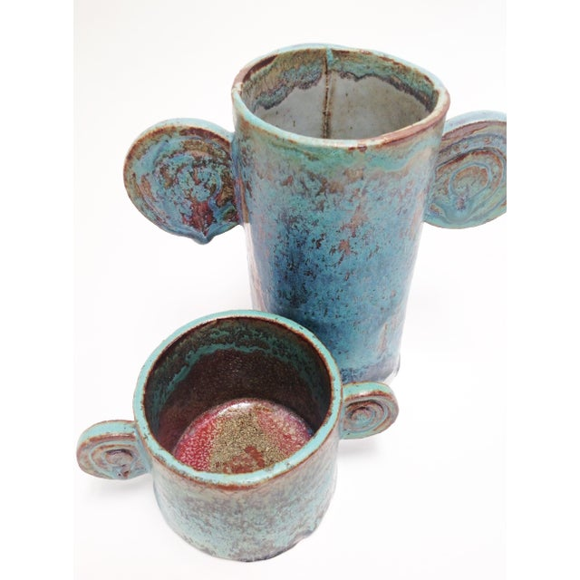 Clay Organic Sculptural Turquoise Pottery Vases - a Pair For Sale - Image 7 of 7