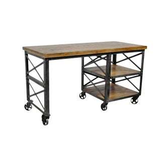 Industrial Style Wood & Iron Desk For Sale