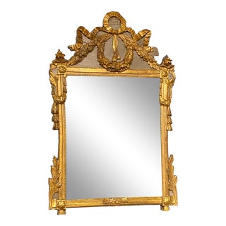Louis XVI Period Gilt Wood and Polychrome Provincial Mirror For Sale