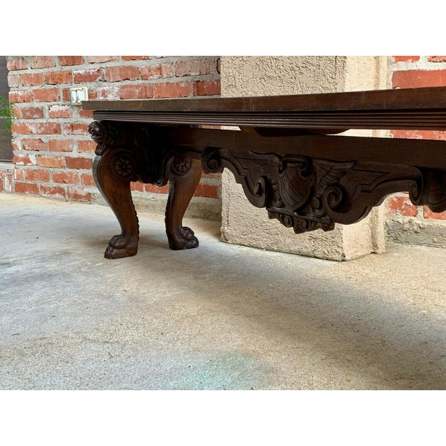1900s Antique Italian Carved Walnut Renaissance Revival Bench Ottoman For Sale - Image 11 of 13