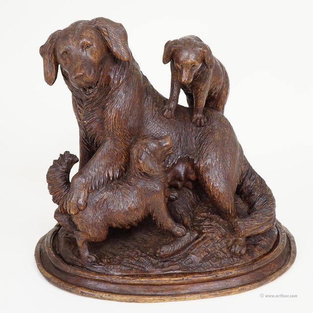 Wood Black Forest Carved Mother Dog With Puppies - Brienz Ca. 1900 For Sale - Image 7 of 10