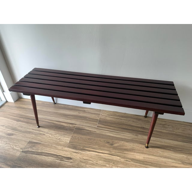 Mid Century Refinished Slat Bench For Sale - Image 4 of 10