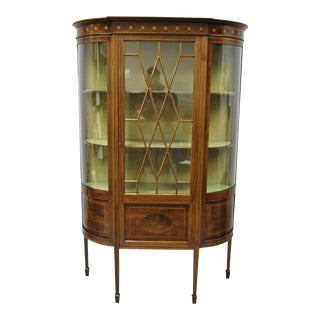 English Edwardian Satinwood Inlay Bowed Curved Glass China Display Cabinet Curio For Sale