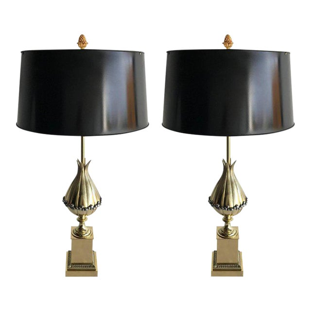 """Maison Charles """"Lotus"""" Bronze Table Lamps - A Pair For Sale"""
