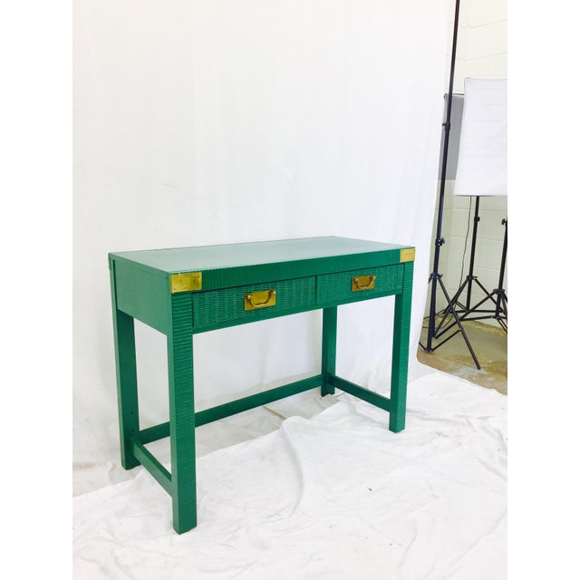 Vintage Mid-Century Campaign Green Desk - Image 8 of 11
