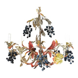 Vintage Painted Tole Chandelier With Grapes For Sale