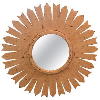 Vintage Sunburst Mirror in Wooden Frame For Sale