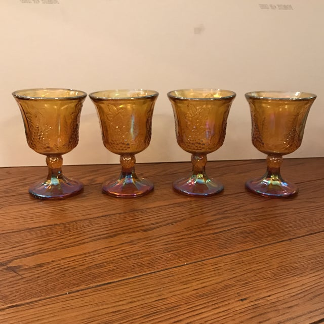 Antique Carnival Glass Pitcher & Glasses - Set of 5 - Image 6 of 10
