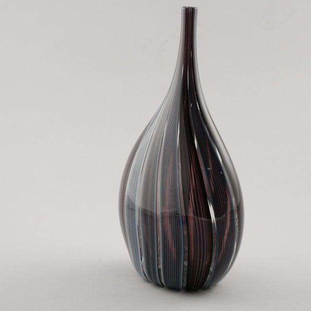 1980s Adriano dalla Valentina Murano Glass Vase With Slender Neck For Sale - Image 5 of 9