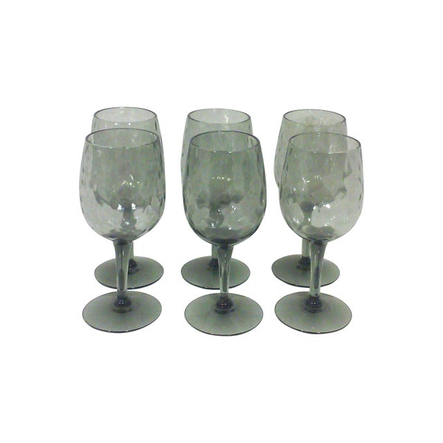 Empoli Italian Smoked Glass Cordial Stemware - Set of 6 For Sale