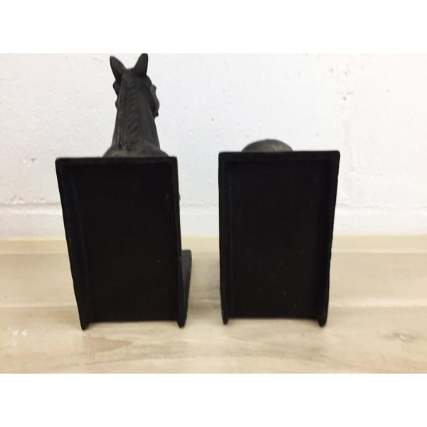 Black Antique Metal Horse Shaped Bookends - A Pair For Sale - Image 8 of 8