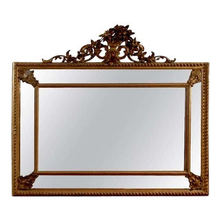 19th Century Italian Rococo Style Giltwood Pareclose Mirror With Carved Crest For Sale