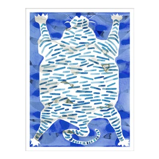 "Medium ""Tiger Rug Blue"" Print by Kate Roebuck, 27"" X 35"" Preview"