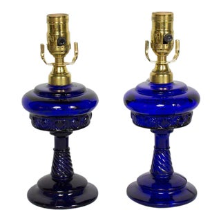 Pair of Cobalt Blue Oil Lamps, Electrified. For Sale