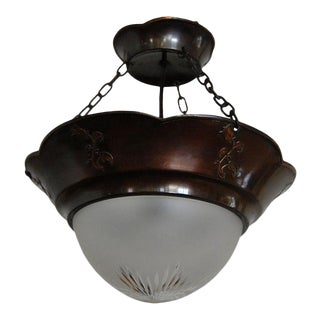 Antique Swedish Arts and Crafts Copper Pendant Chandelier For Sale
