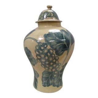 Large Hand Painted Blue & White Mexican Urn