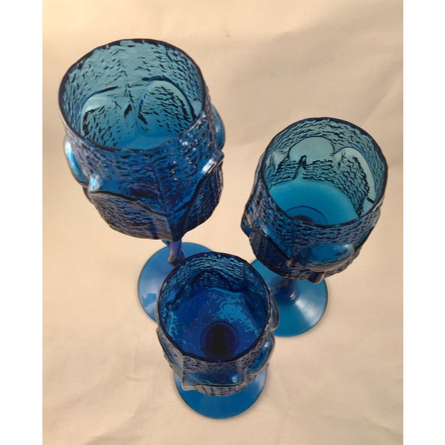 Blown Glass Vintage Stelvia Early 1960s Antiqua Candle Holders Designed by Blenko's Wayne Husted - Set of 3 For Sale - Image 7 of 11