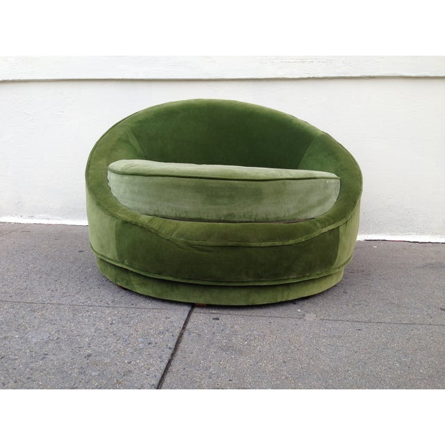 Milo Baughman Emerald Green Swivel Loveseat - Image 3 of 8