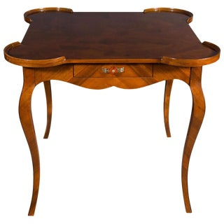 French Art Deco Game Table with Inlaid Exotic Burled Walnut Abstract Mosaic Top For Sale