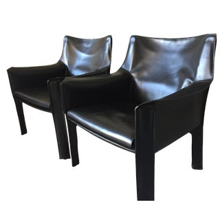1970s Vintage Black Leather Cab Chairs- A Pair For Sale