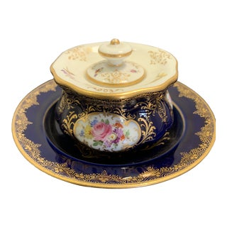 Antique Meissen Inkwell Porcelain 19th Century For Sale