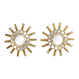 Giltwood Sunburst Mirrors - A Pair