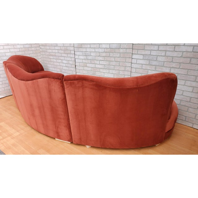 1980s Mid Century Modern Vladimir Kagan for Directional Three Piece Curved Black Sectional Sofa For Sale - Image 5 of 12