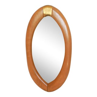 Almond Shape Mirror With Gold Accent For Sale