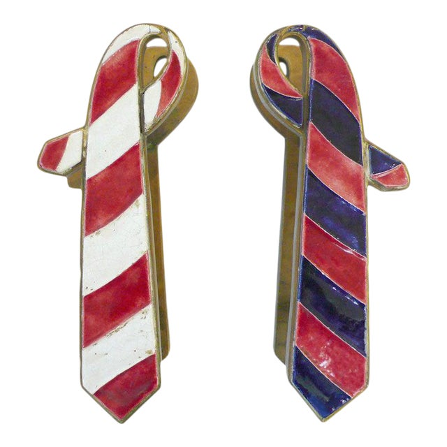"""Pair of French Brass and Ceramic """"Ties"""" Door Pulls For Sale"""