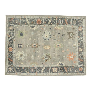 Contemporary Turkish Oushak Rug With Modern Style - 10'05 X 13'11 For Sale