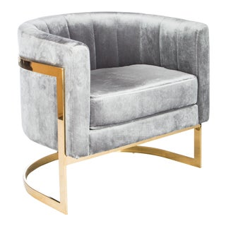 Mica Gold and Gray Velvet Club Chair For Sale