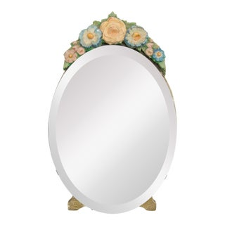 Antique English Barbola Dressing Mirror For Sale