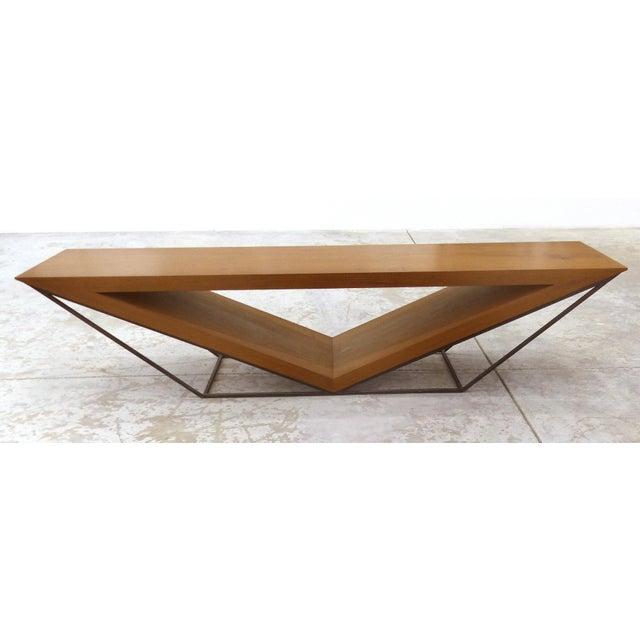Leonardo Bueno Brazilian Imbuia Wood Sculptural Bench - Image 2 of 8