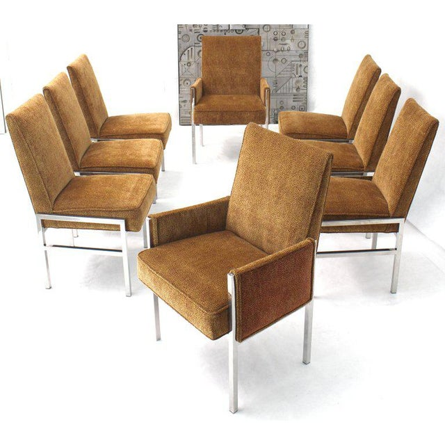 Mid-Century Modern Set of Eight Chrome Frame New Upholstery Dining Chairs Two-Arm Chairs For Sale - Image 3 of 13