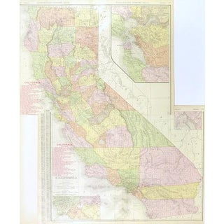 Vintage California Map, 1906 For Sale