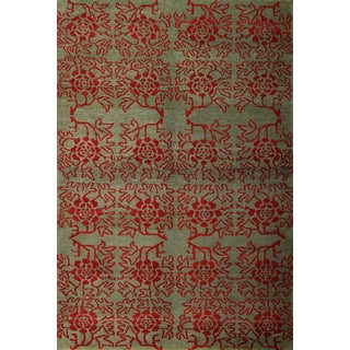 Modern Transitional Green & Red Floral Wool Rug - 4′ × 6′ For Sale