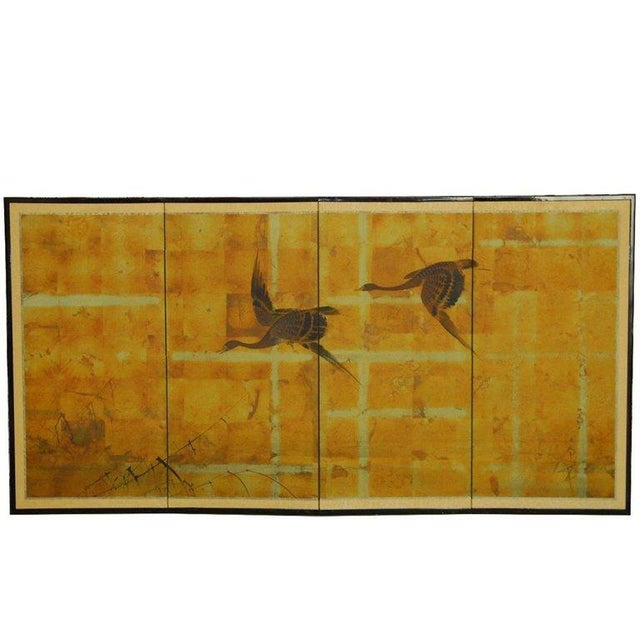 Golden Japanese four-panel folding Byobu screen of Autumn geese on a gilt background. Beautifully hand-painted on squares...
