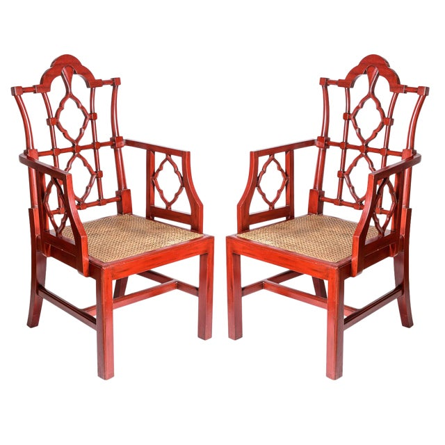 Chinese Red Lacquered Chippendale Style Gothic Chairs With Cane Seats, A-Pair For Sale