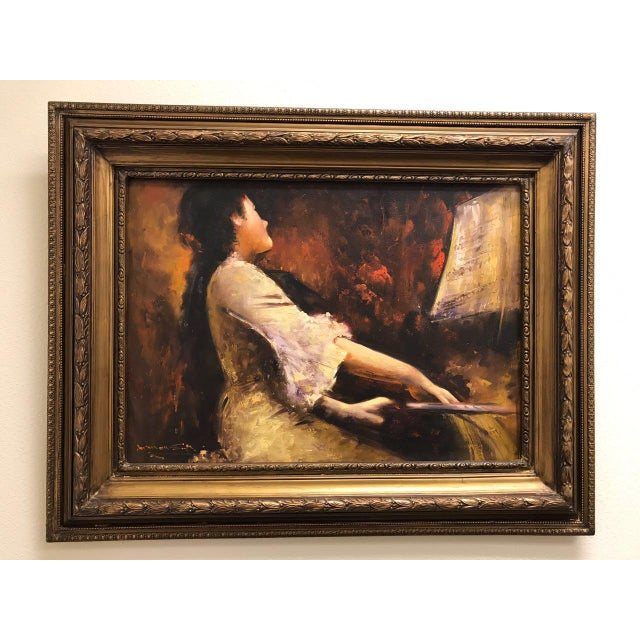 New! French style oil painting with gilded frame. handmade from Egypt. High quality material used.