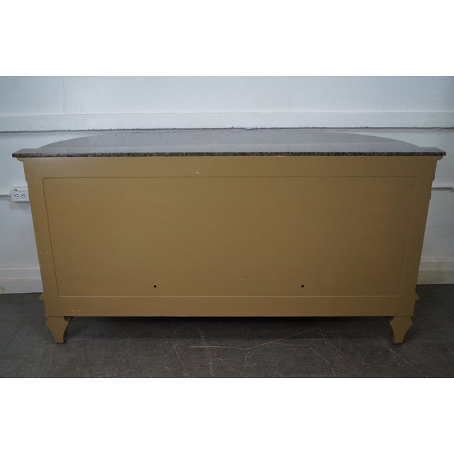 Faux Painted French Style Marble-Top Sideboard with Iron Doors - Image 4 of 10