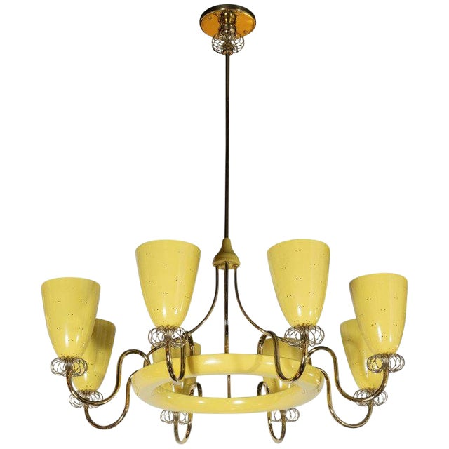 French Mid-Century Modern Brass and Yellow Enamel Eight-Arm Chandelier For Sale