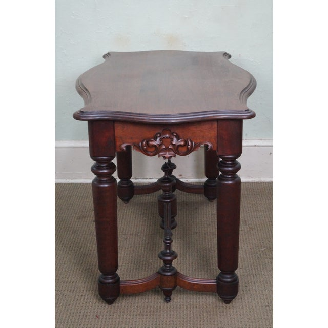 Traditional 19th Century Antique Solid Walnut Victorian Library Table For Sale - Image 3 of 10